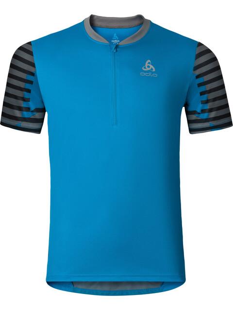 Odlo Morzine Stand-Up Collar S/S 1/2 Zip Men blue jewel-allover print SS17
